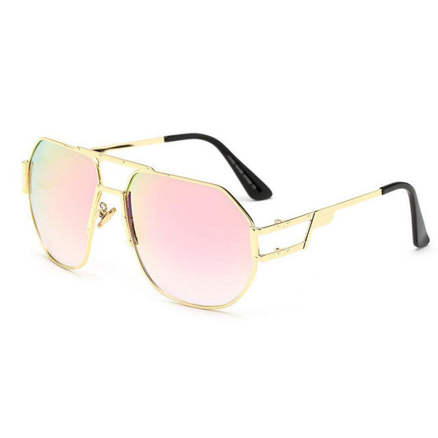 Unisex Metal Over-sized Square Shape Sunglasses