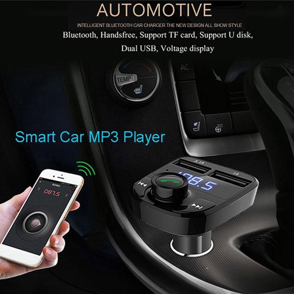 Dual USB Bluetooth Mp3 Handsfree Car Charger Battery Voltage Detection Car Vehicle FM Transmitter MP3 Player Free Shipping