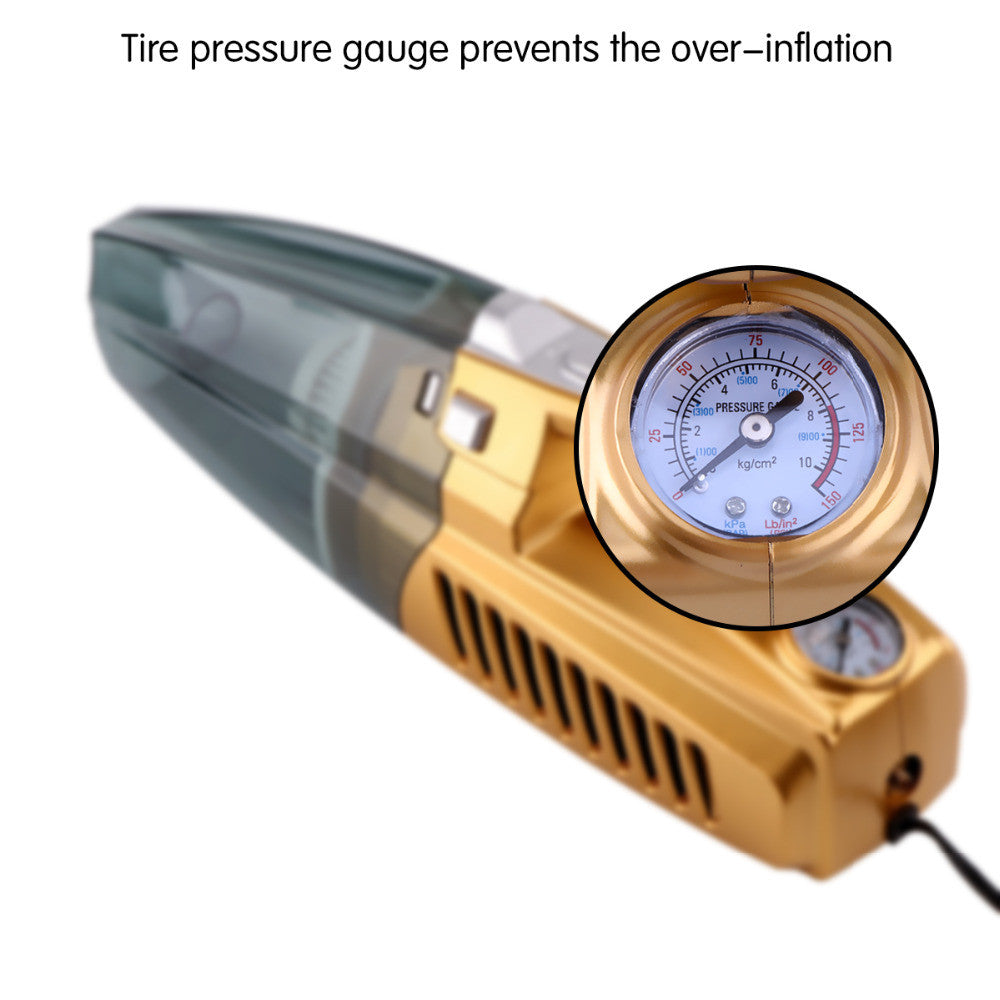 Dry and Wet Dual-use Car Vacuum Cleaner Portable Multi-function Tire Inflator Tire Pressure Gauge 12V High Quality