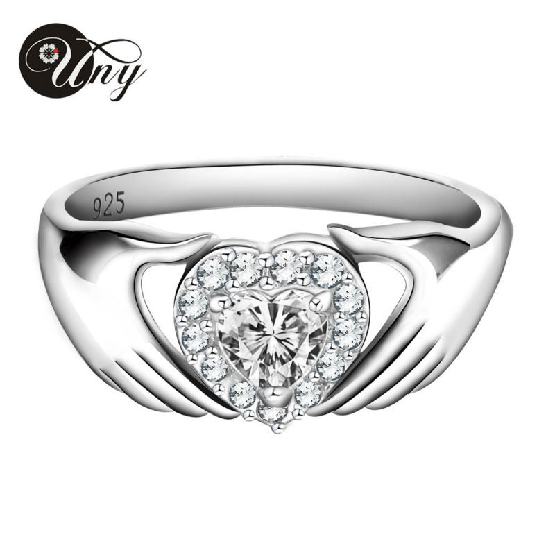 925 Silver Customized Engrave Rings Valentine's Love gift Heart Birthstone Ring Personalized Gifts Women  Rings