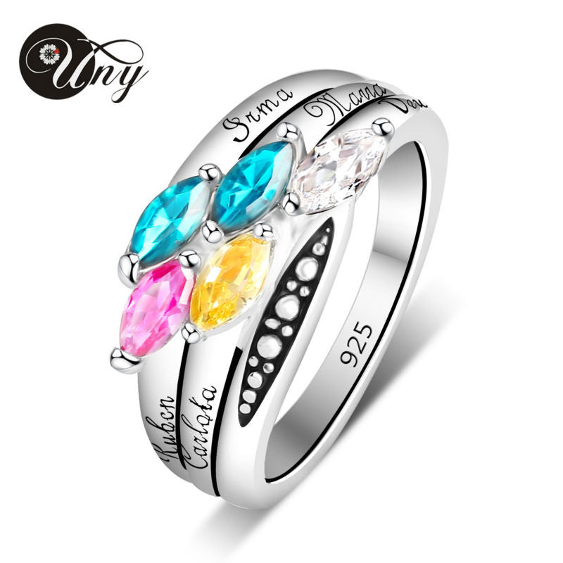 925 Sterling Silver Moms Personalized Rings Birthstone Customized Love DIY 5 Stone Engrave Family Heirloom Promise Ring