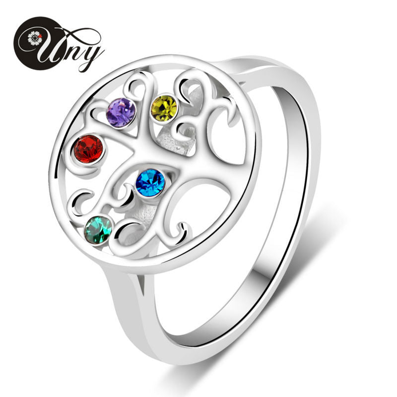 Personalized Birthstone Ring 925 Silver Custom Rings Engrave Name Family Tree Heirloom Love