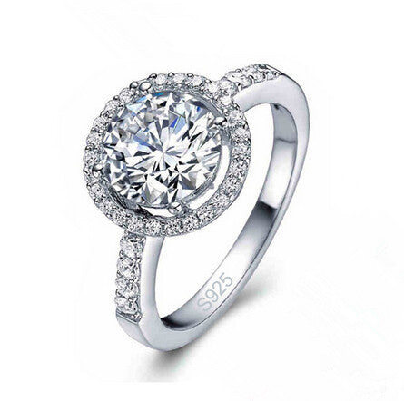 CZ Crystal Silver Plated Romantic Engagement Wedding Ring For Women Anniversary Finger Size 6-10 Fine Jewelry