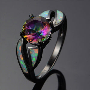 Charming White Fire Opal Ring Colorful Sappire Women Black Gold Filled Engagement Ring