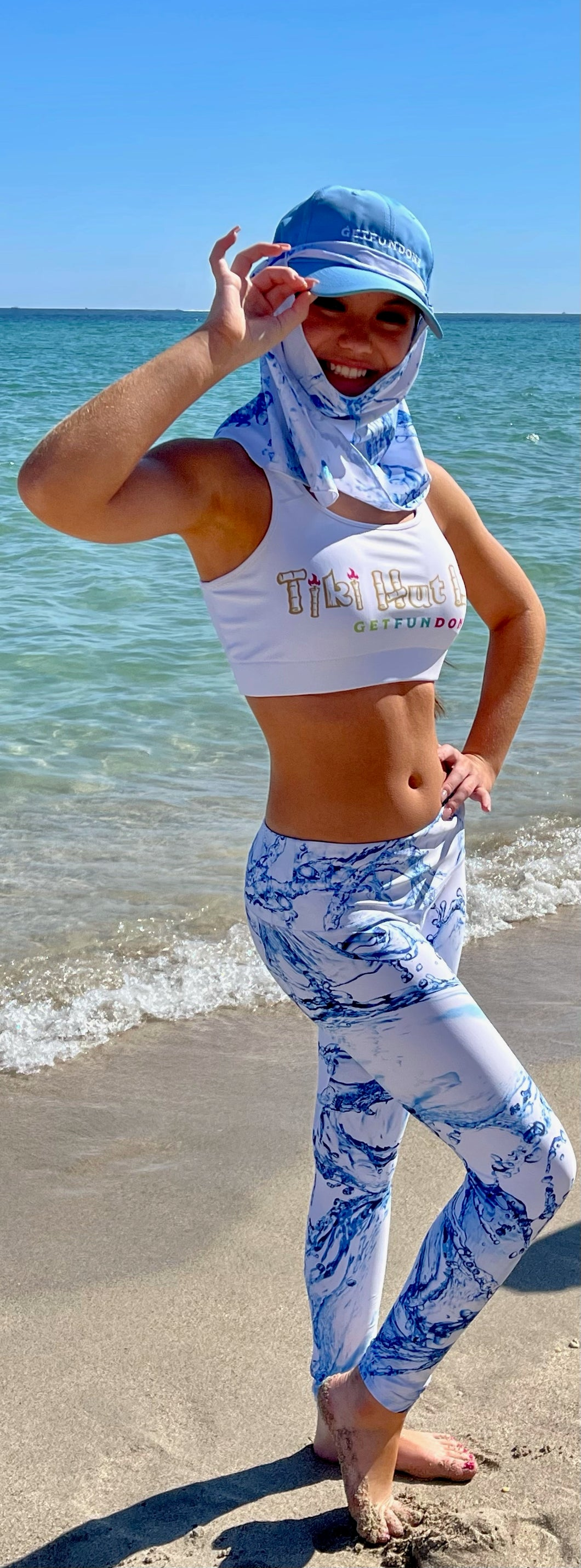 UPF leggings with GET FUN DONE logo