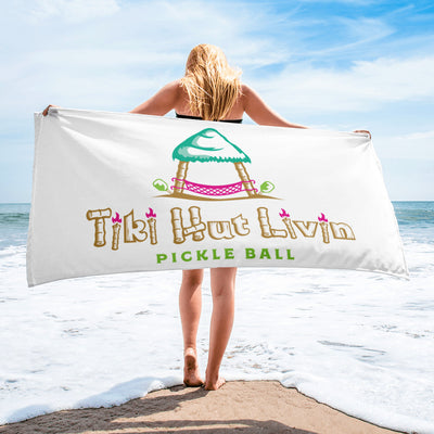 Tiki Hut Livin Pickleball Beach Towel