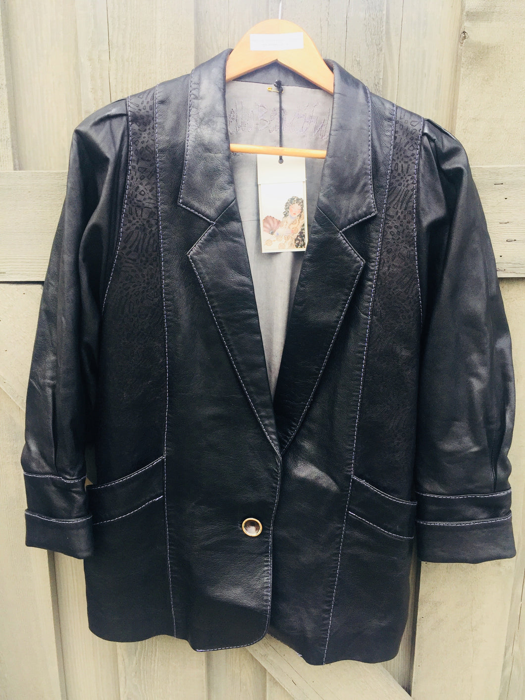 Elegant Black Leather Blazer