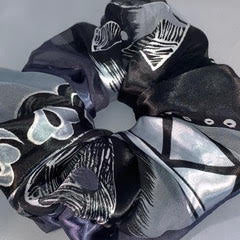 black and pewter satin abstract