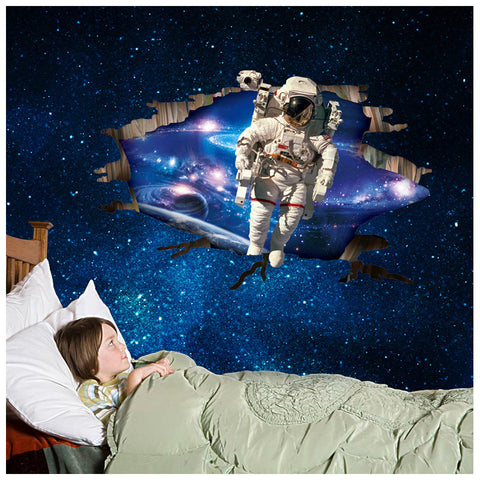 3D Outer Space Astronauts Wall Sticker - America Geek