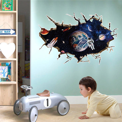 3D Outer Space Planet Wall Sticker For Kids - America Geek