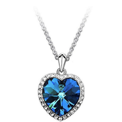 Zircon Titanic Ocean Heart Silver Necklace - America Geek