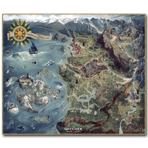 The Map of Witcher 3 Wild Hunt Silk Poster - America Geek