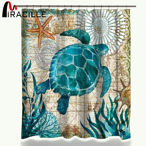 Sea Turtle / Octopus / Whale / Sea Horse Waterproof Shower Curtain Home Bathroom Curtains with 12 Hooks - America Geek