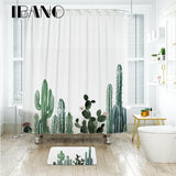 Tropical Cactus Shower Curtain Waterproof Polyester Fabric Bath Curtain / Mat - America Geek