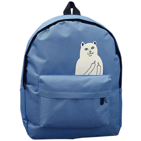 Cat printing canvas backpack - America Geek