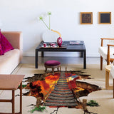 3D Volcano Chain Bridge Floor Wall Sticker - America Geek