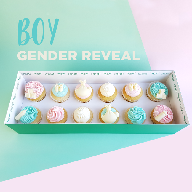 BOY Gender reveal - 12 Cupcake Gift box -  Cupcake Central