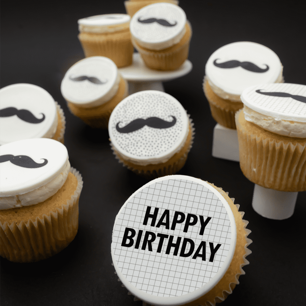 Moustache Themed Cupcakes - Gift Box -  Cupcake Central