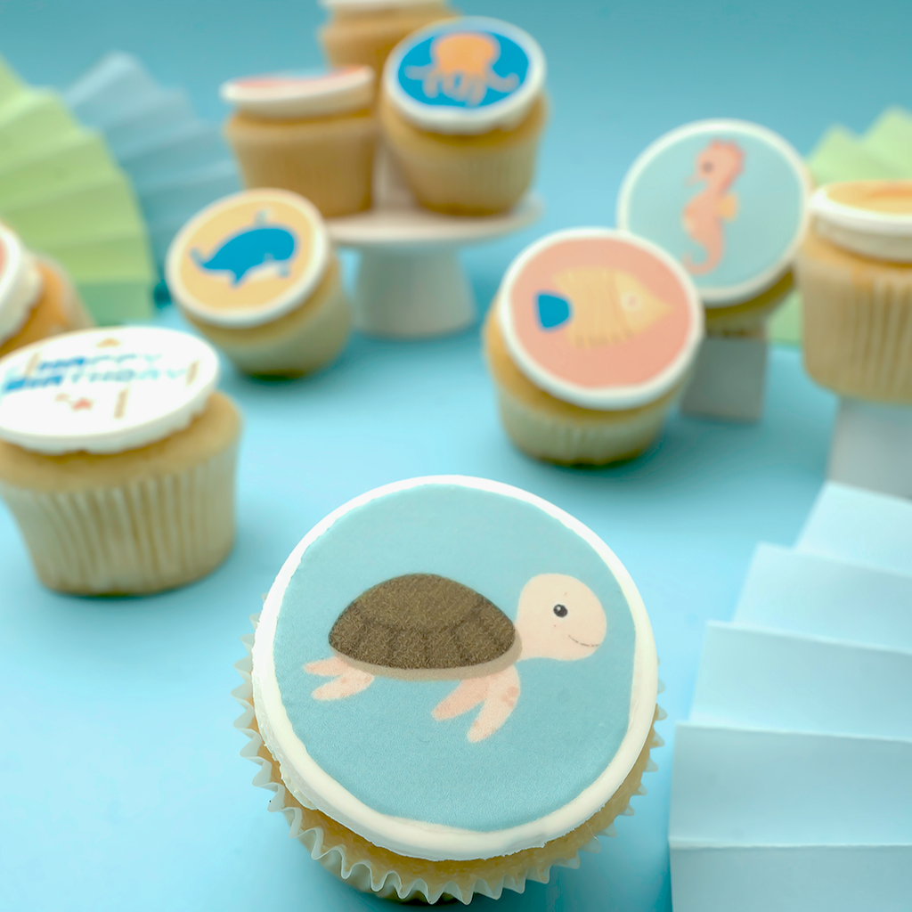Sea Creatures Themed Cupcakes - Gift Box (VEGAN) -  Cupcake Central