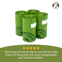 100% Biodegradable Premium Pet Waste Bags - Small Handle On Rolls (3-Pack)