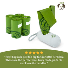 100% Biodegradable Premium Pet Waste Bags - Small Handle On Rolls + Dispenser