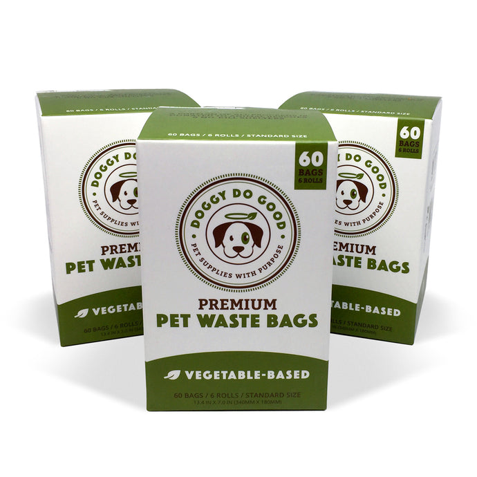 100% Biodegradable Premium Pet Waste Bags - On Rolls (3-Pack)