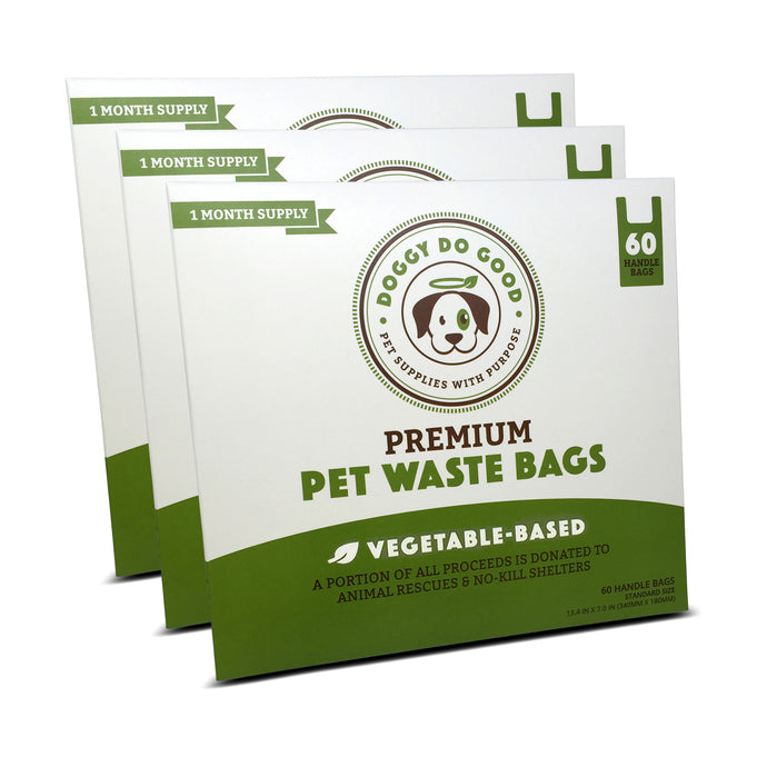 100% Biodegradable Premium Pet Waste Bags - Handle Bags (3-Pack)