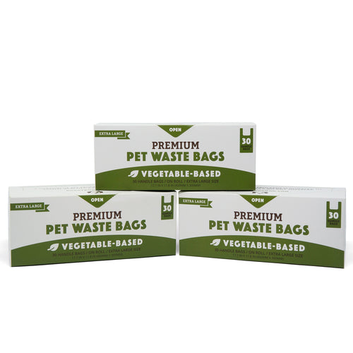 100% Biodegradable XL Premium Pet Waste Bags - Handle Bags On A Roll 3-Pack (90-Count)
