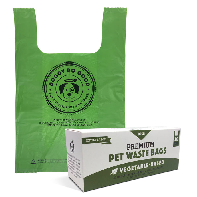 100% Biodegradable XL Premium Pet Waste Bags - Handle Bags On A Roll (30-Count)