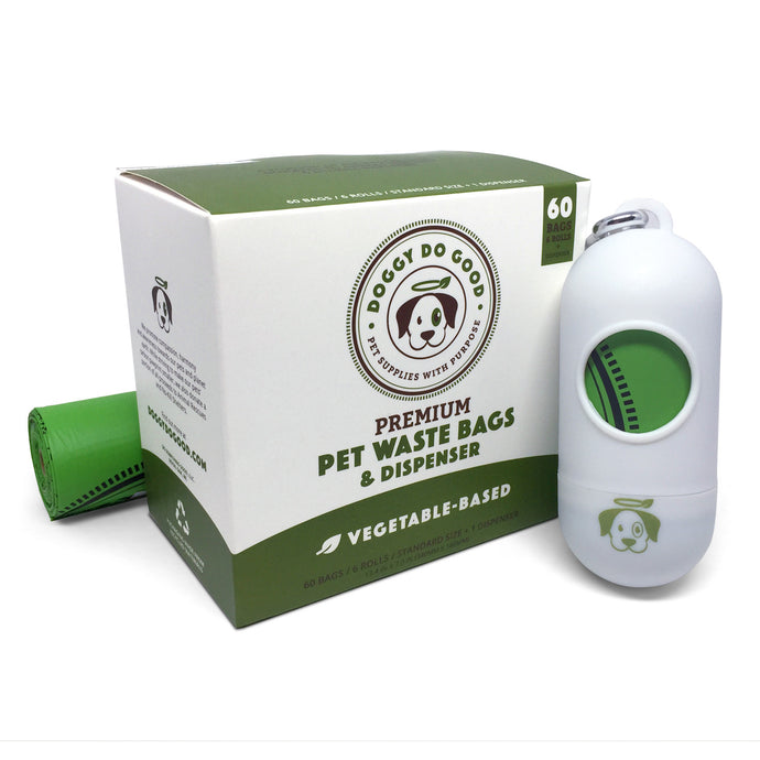 100% Biodegradable Premium Pet Waste Bags - On Rolls + Dispenser