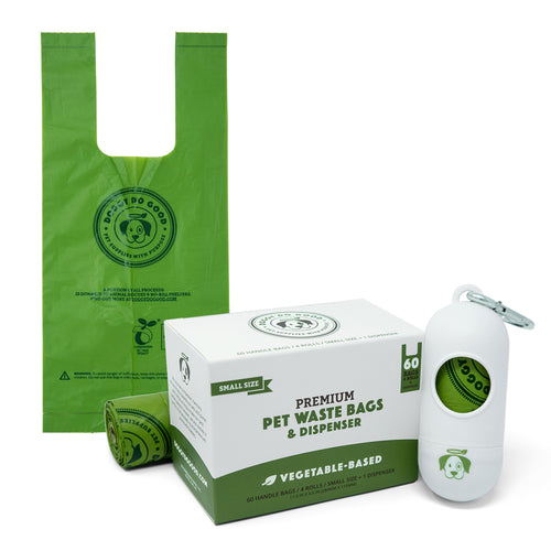 100% Biodegradable Premium Pet Waste Bags - Small Handle Bags - On Rolls + Dispenser