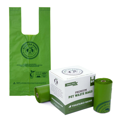 100% Biodegradable Premium Pet Waste Bags - Small Handle Bags - On Rolls