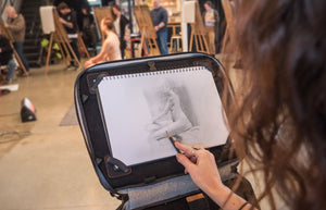 Life drawing with the Etchr Art Satchel in Easel Mode