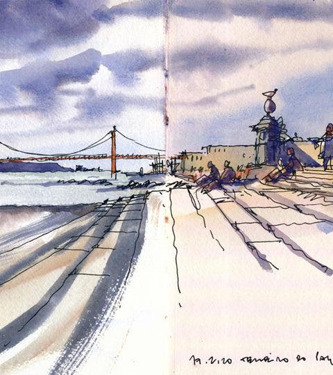 Pedro Loureiro :: Urban Sketching Through Google Earth in Watercolour
