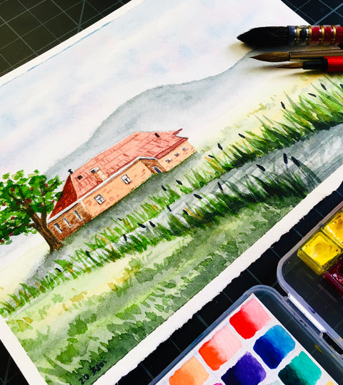Using Gravity in Watercolour Painting