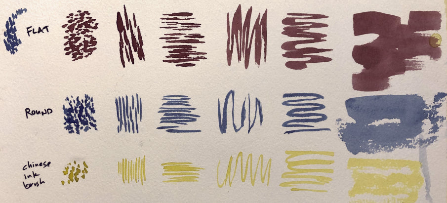Different brushes making the same types of marks