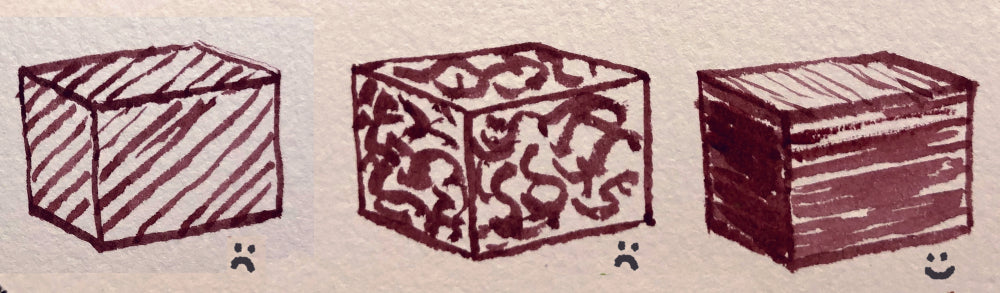 Textural marks on the left and center cube don't emphasize the form. Marks on the right cube follow the planes of the cube and emphasize a three-dimensional form.