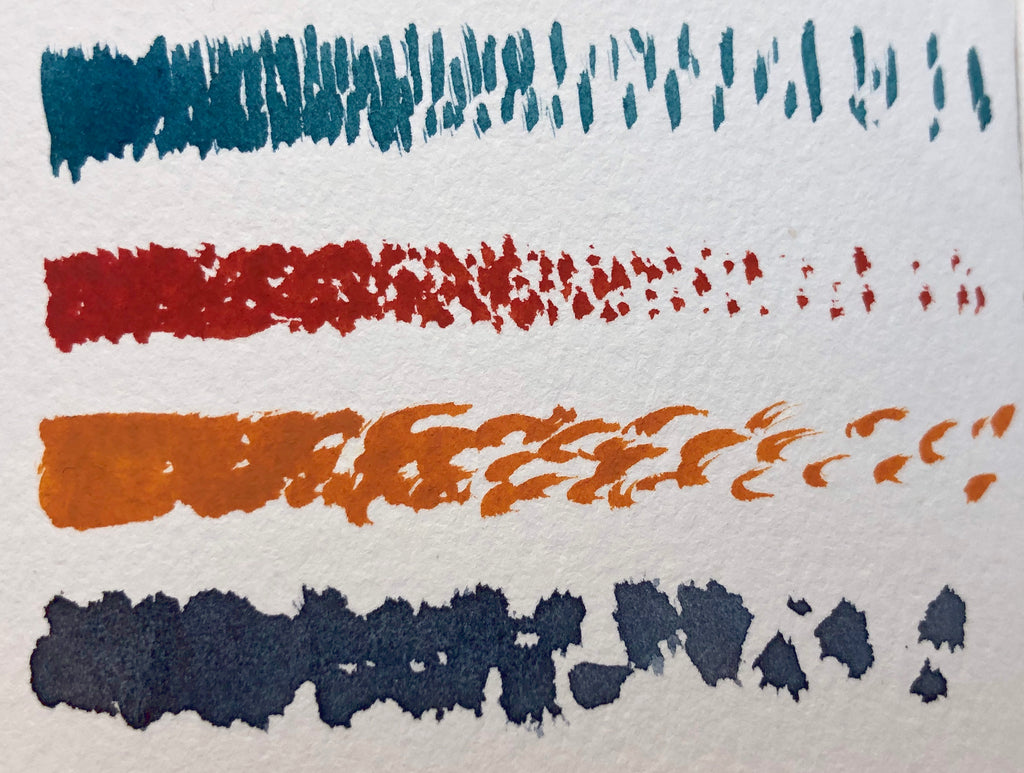 Brushstroke gradation from denser to more spaced out