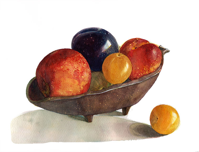 """Bowl of Fruits,"" Watercolor on Paper"