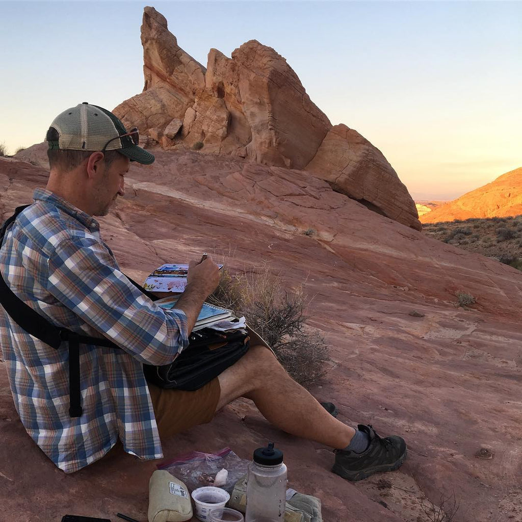 Terry Dodson using Etchr Art Satchel for Watercolor