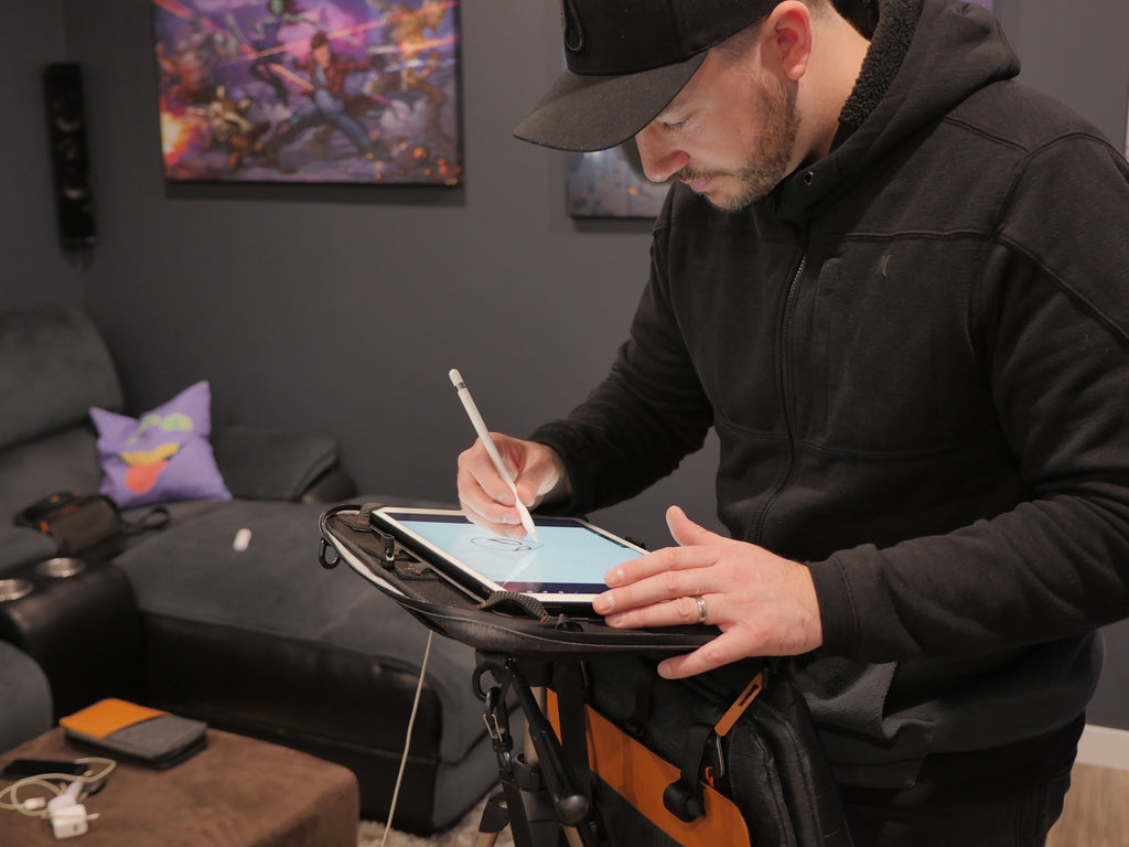 Patrick Brown using the Etchr Art Satchel with Procreate on iPad