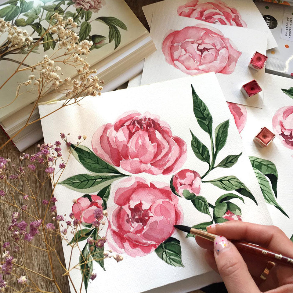 Botanical study of peony - watercolor florals without secrets