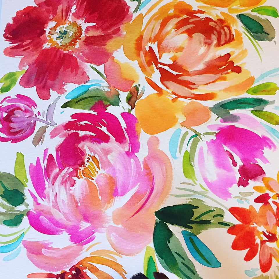 Creating a full floral page with watercolour
