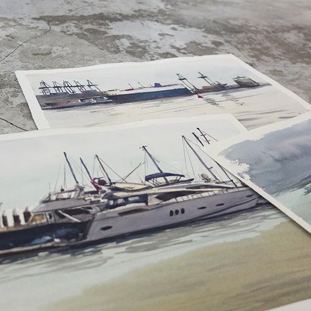 Seascapes and Boats in Watercolour (Recording)