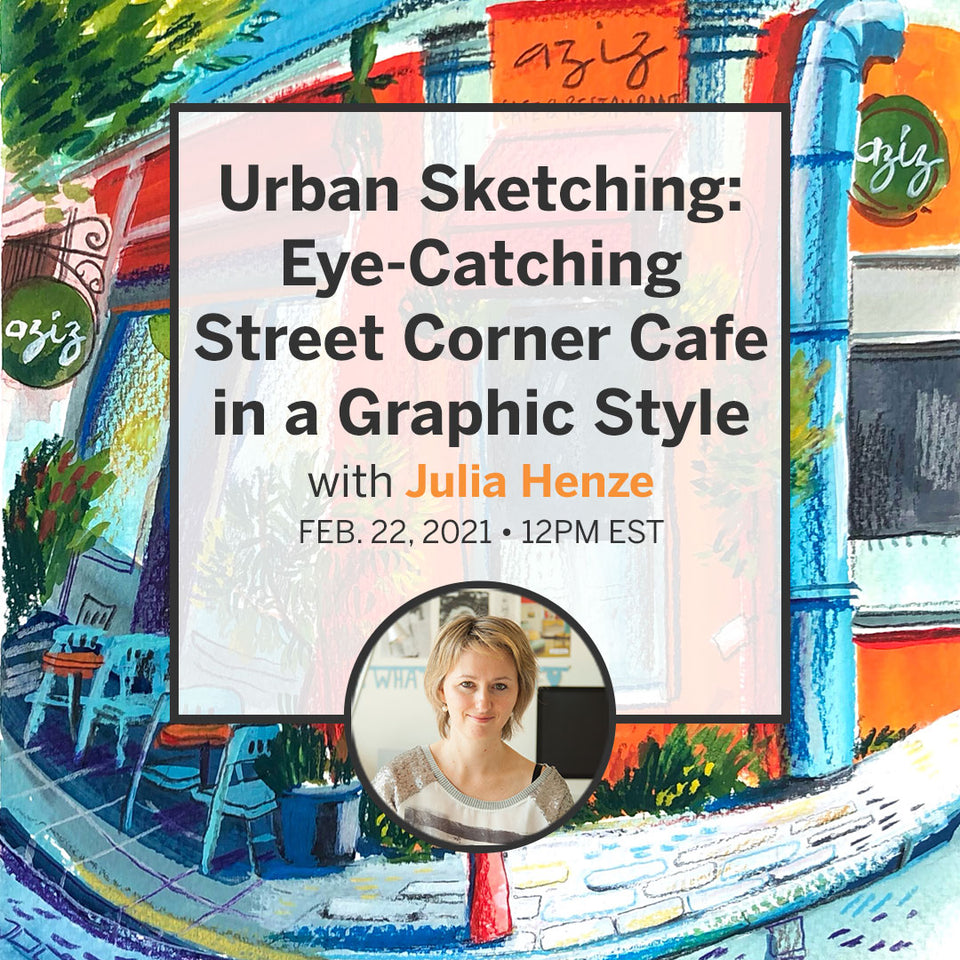 Urban Sketching: Eye-Catching Street Corner Cafe in a Graphic Style