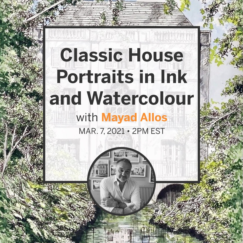 Classic House Portraits in Ink and Watercolour