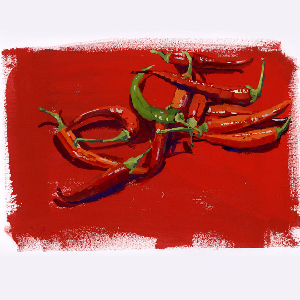Hot Peppers in Gouache
