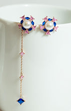 Fashion Drop Earrings with Blue Crystals