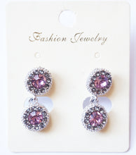 Fashion Earrings with Violet Crystals - CHANCEUSES