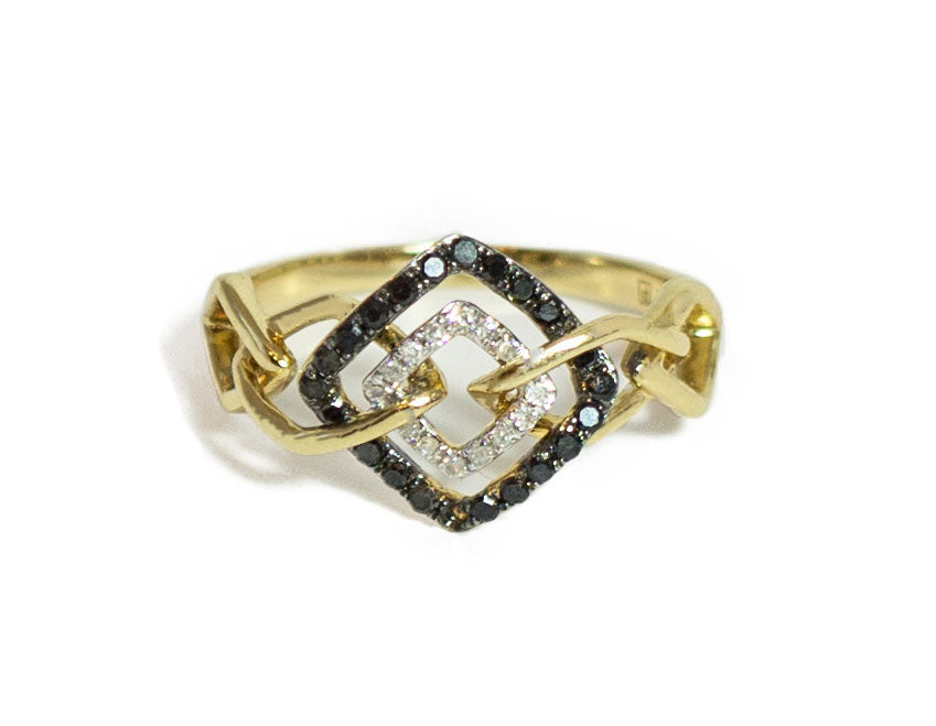 Solid 14k Yellow Gold Ring with Diamond & Saphire - CHANCEUSES